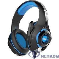 CROWN CMGH-101T Black&blue (Подключение jack 3.5мм 4pin+ адаптер 2*jack spk+mic,Частотныи? диапазон: 20Гц-20,000 Гц ,Кабель 2.1м,Размер D 250мм, регулировка громкости, микрофон на ножке)