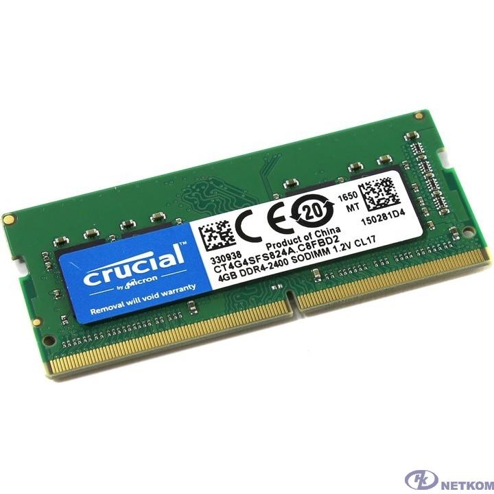 Crucial DDR4 SODIMM 4GB CT4G4SFS824A PC4-19200, 2400MHz