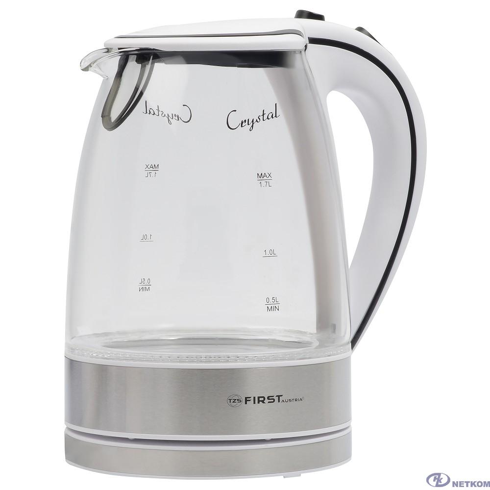 FIRST FA-5406-2-WI Чайник, стеклянный, 1.7 л,  подсветка, цвет: белый
