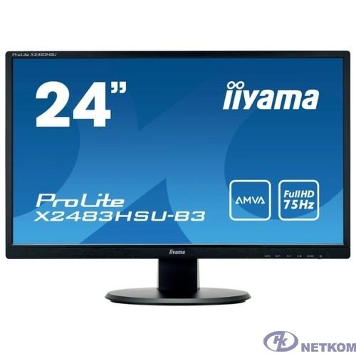 """IIYAMA 24"""" X2483HSU-B3 черный {AMVA LED 1920x1080 75hz 4ms 16:9 250cd 178гр/178гр D-Sub HDMI DisplayPort}"""