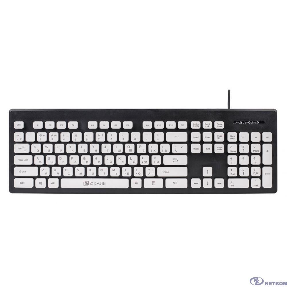 Клавиатура Oklick 580M черный/белый USB slim Multimedia [483493]
