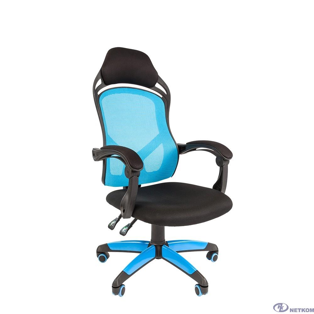 Офисное кресло Chairman    game 12  Россия черн.голубой (7016633)