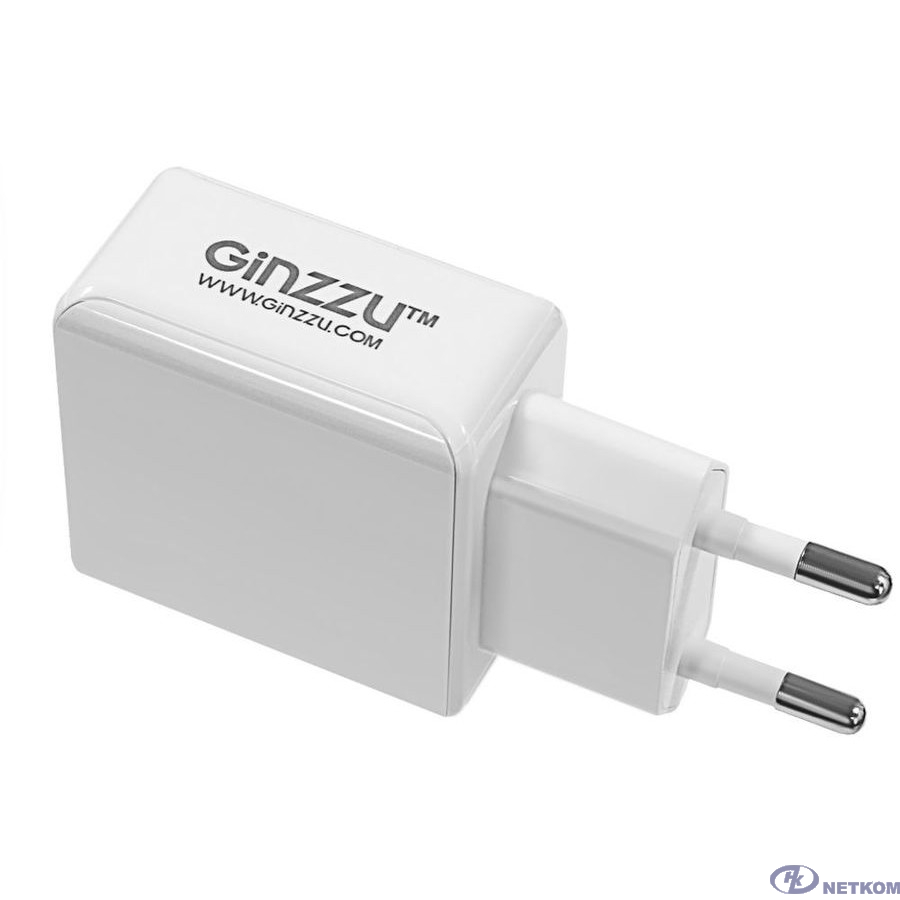 GINZZU GA-3313UW, СЗУ 5В/3.1A/2USB + Дата-кабель 8pin APPLE, 1,0м, белый