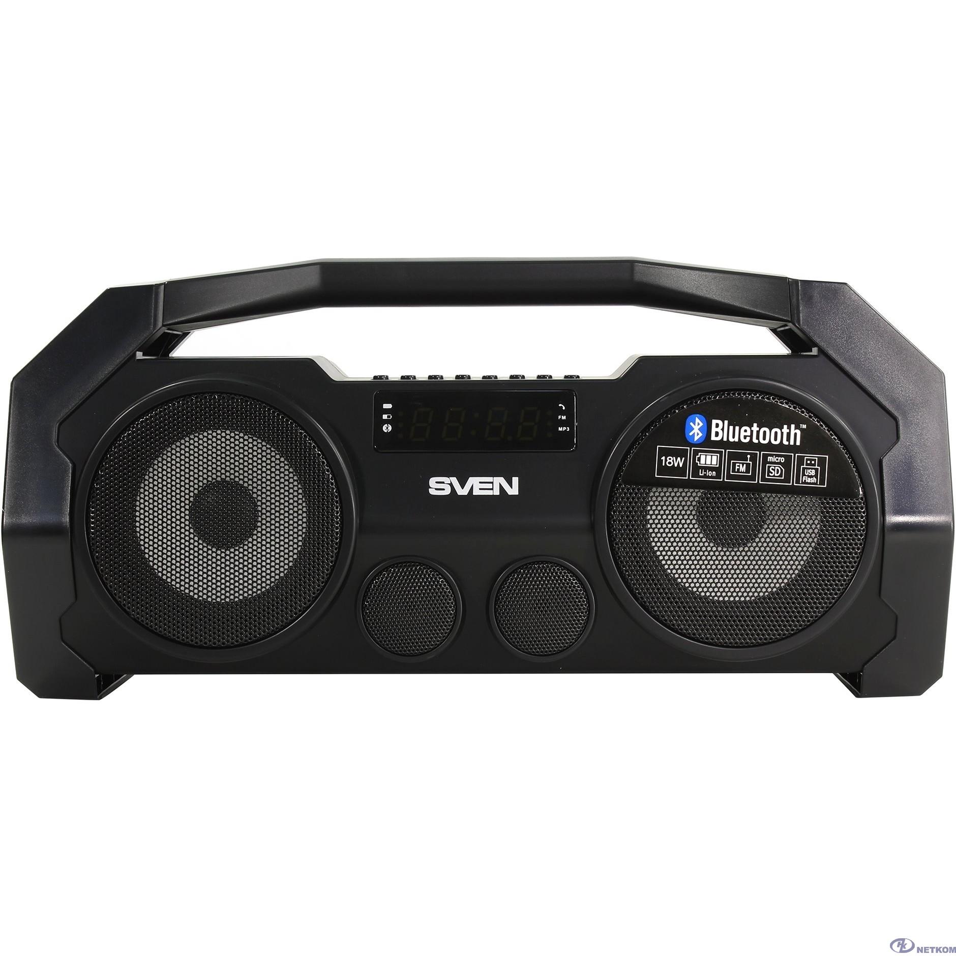 SVEN PS-465, черный (18 Вт, Bluetooth, FM, USB, microSD, LED-дисплей, 1800мА*ч)