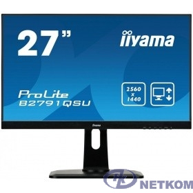 "IIYAMA 27"" B2791QSU-B1 черный {TN 2560x1440 75Hz 1ms 170/160 350cd 1000:1 8bit DVI HDMI1.4 DisplayPort1.2 FlickerFree VESA AudioOut 2x2W}"