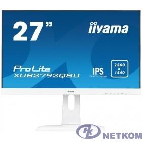 "IIYAMA 27"" XUB2792QSU-W1 белый {IPS LED 2560x1440 75Hz 5ms 10bit(8bit+FRC) 16:9 350cd 1000:1 178/178 D-Sub DVI HDMI1.4 DisplayPort1.2 USB3.0 AudioOut 2x2W VESA}"