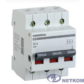 Iek MNV15-3-025 Выключатель нагрузки (мини-рубильник) ВН-32 3Р 25А GENERICA