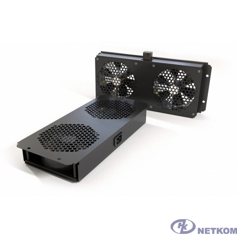 Hyperline TFAB-T2FR-RAL9004 Модуль вентиляторный потолочный с 2-мя вентиляторами для установки в шкафы серий TTC2, TTB и TWB, с подшипниками и крепежными элементами, без кабеля питания, цвет черный