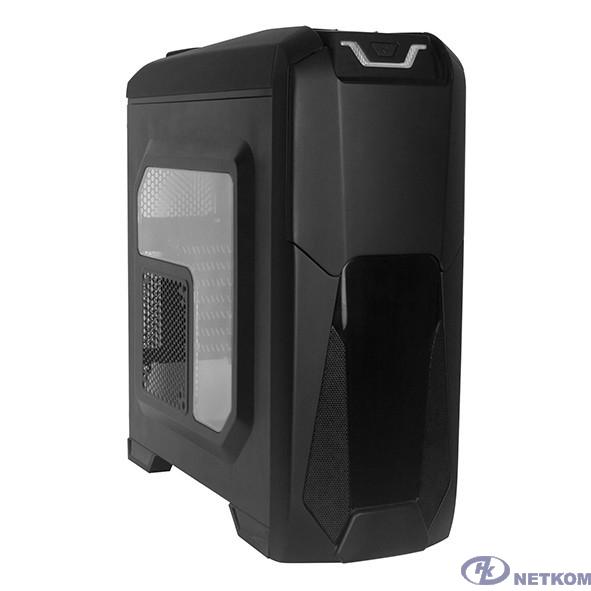 Exegate EX270558RUS Корпус Miditower Exegate EVO-8202 Black-Red light, ATX, <без БП>, с окном, 2*USB+1*USB3.0, Audio