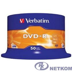 Verbatim  Диски DVD-R  4.7Gb 16-х, 50шт, Cake Box (43548)