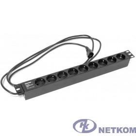 """Hyperline SHE19-9SH-2.5IEC Блок розеток для 19"""" шкафов, горизонтальный, 9 розеток Schuko (10A), 250В, кабель питания 3х1.0мм2, длина 2.5 м, с вилкой IEC 320 C14, 482.6x44.4x44.4мм (ДхШхВ)"""