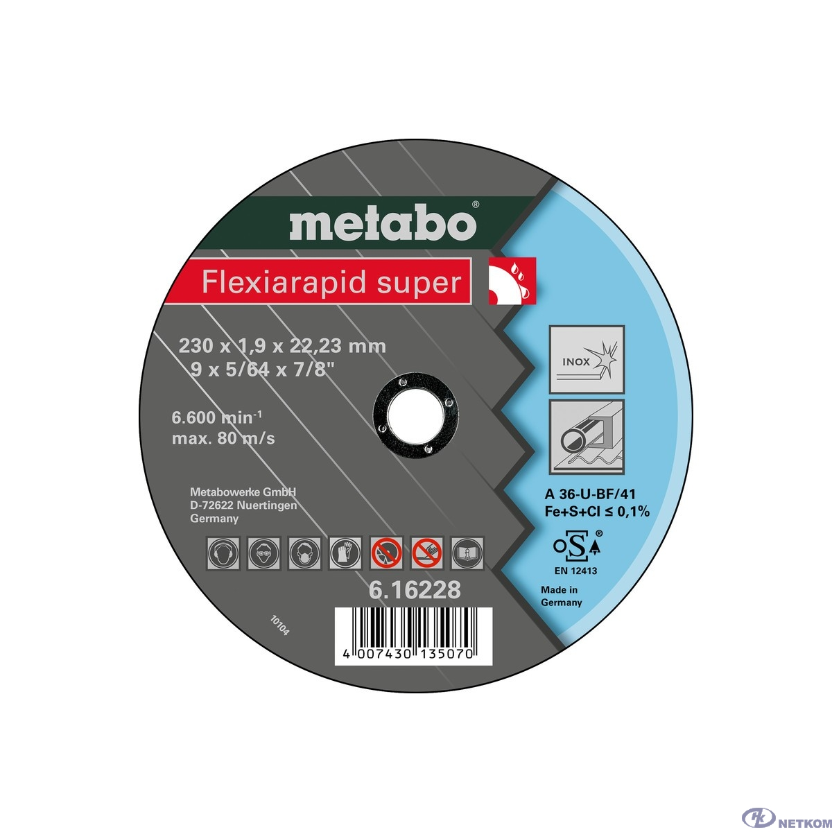 Metabo Круг отр нерж Flexiarapid S 230x1,9 прям А 36 U [616228000]