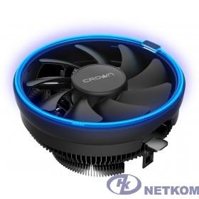 CROWN Кулер для процессора CM-1151PWM BLUE(Сокет AM4 Ready, 115X, 775, TDP до 115 Ватт, коннектор 4pin PWM, Синяя подсветка, Размер: 126(L)*126(W)*70(H)мм)