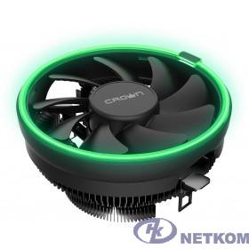 CROWN Кулер для процессора CM-1152PWM GREEN (Сокет AM4 Ready, 115X, 775, TDP до 115 Ватт, коннектор 4pin PWM, Зелёная подсветка, Размер: 126(L)*126(W)*70(H)мм)