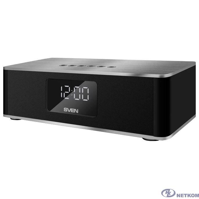 SVEN PS-190, черный-серебро (10 Вт, Bluetooth, FM, USB, microSD, LED-дисплей, часы, 2000мА*ч)