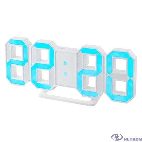 "Perfeo LED часы-будильник ""LUMINOUS"", белый корпус / синяя подсветка (PF-663)"