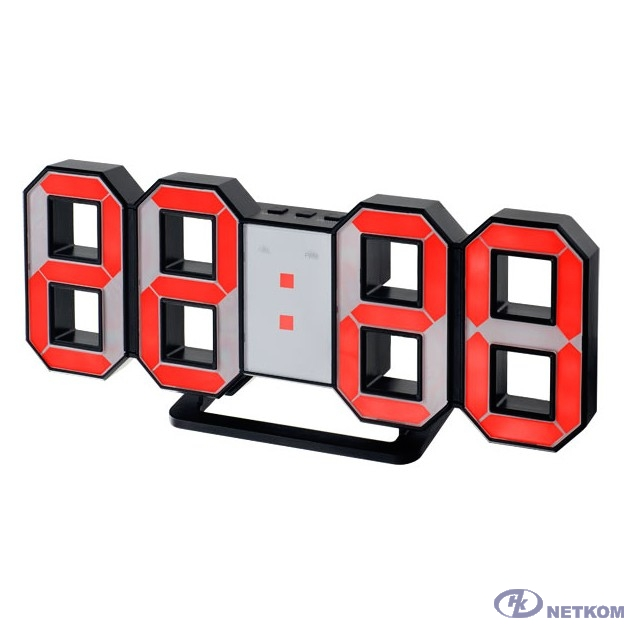"Perfeo LED часы-будильник ""LUMINOUS"", черный корпус / красная подсветка (PF-663)"