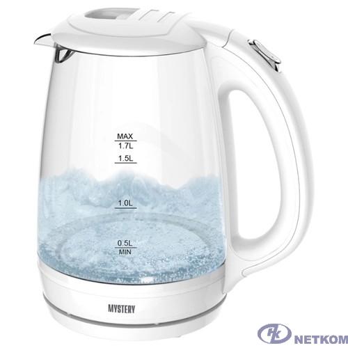MYSTERY MEK-1642 Чайник, Мощность: 1800 Вт, Объём: 1,7 л., LED подсветка резервуара для воды, Стеклянный корпус, Цвет: Белый