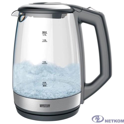 MYSTERY MEK-1643 Чайник, Мощность: 1800 Вт, Объём: 1,7 л., LED подсветка резервуара для воды, Стеклянный корпус, Цвет: Чёрный