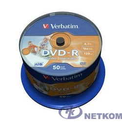 Verbatim  Диски DVD-R  4.7Gb 16х, Wide Photo InkJet Printable, 50шт, Cake Box (43533/43649)