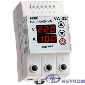 DigiTOP VA-32A Реле напряжения с контролем тока на DIN-рейку, 0-400В, макс. 40А, 5-600 сек.