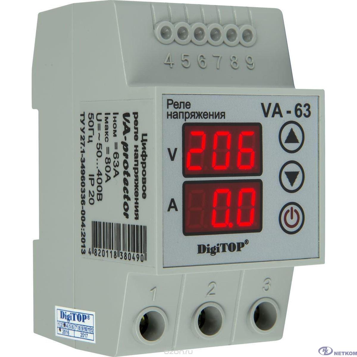 DigiTOP VA-63A Реле напряжения с контролем тока на DIN-рейку, 0-400В, макс. 80А, 5-600 сек.