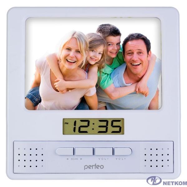 "Perfeo Часы-радио-фоторамка ""Foto"", серебряный, (PF-S6005)"