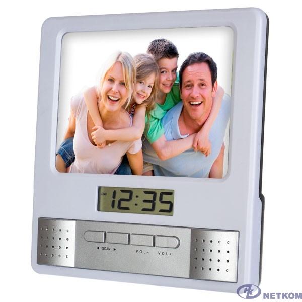 "Perfeo Часы-радио-фоторамка ""Foto"", белый, (PF-S6005)"