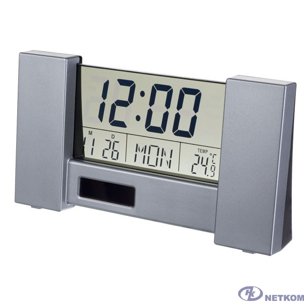 "Perfeo Часы-будильник ""City"", серебряный, (PF-S2056) время, температура, дата"
