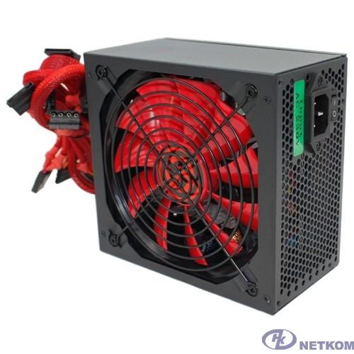 Ginzzu PC500 14CM(Red) 80+ black,APFC,24+4p,2 PCI-E(6+2), 5*SATA, 4*IDE,оплетка, кабель питания,цветная коробка