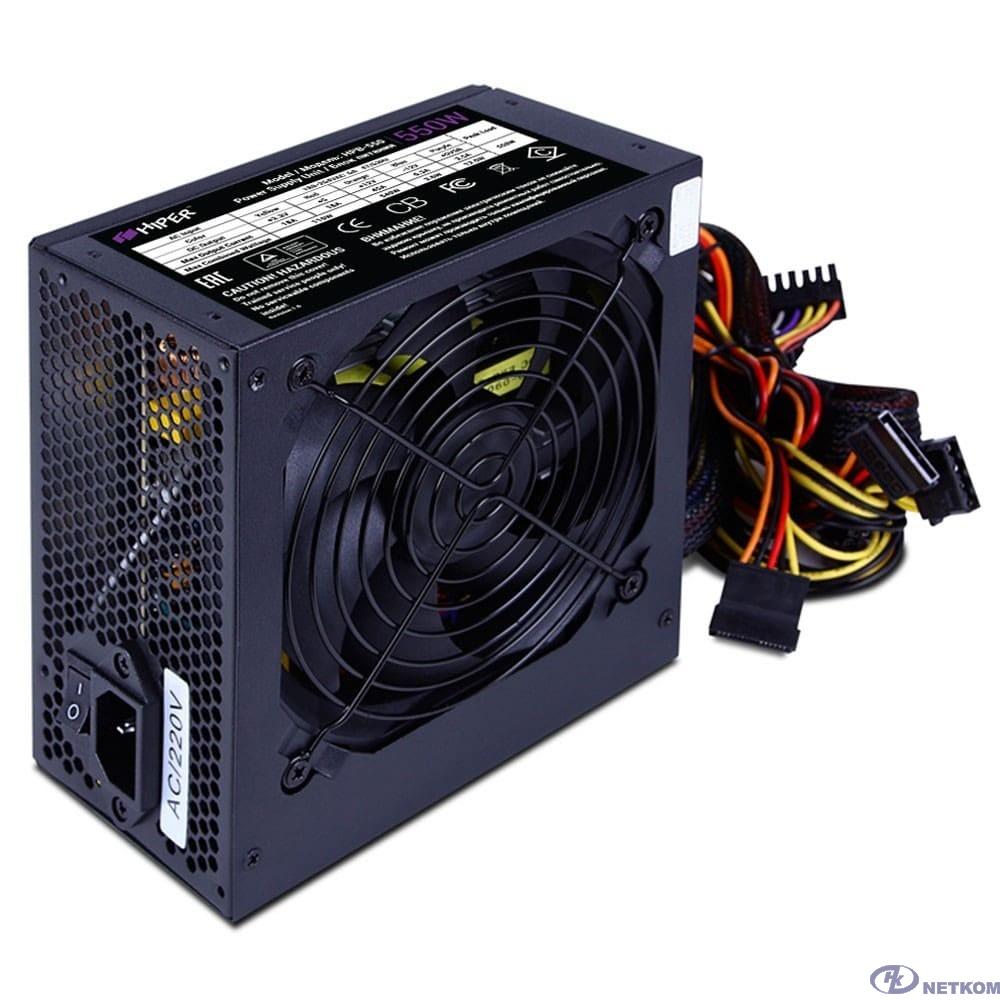 HIPER Блок питания HPB-550 (ATX 2.31, 550W, Active PFC, 80Plus BRONZE, 120mm fan, черный) BOX