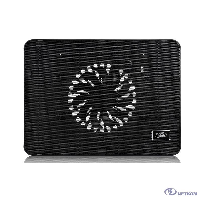 "DEEPCOOL WIND PAL MINI Подставка для охлаждения ноутбука (14шт/кор, до 15.6"", тонкая металическ. панель, LED подсветка, USB порт, 140мм вентилятор, регулятор скор-ти, черный) Retail box"