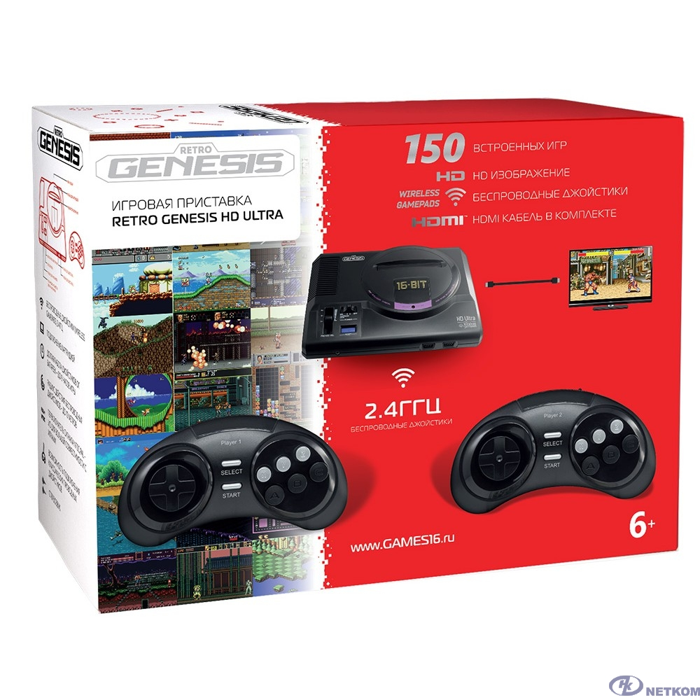 SEGA Retro Genesis HD Ultra + 150 игр (2 беспроводных 2.4ГГц джойстика, HDMI кабель) [ConSkDn70] [611416]