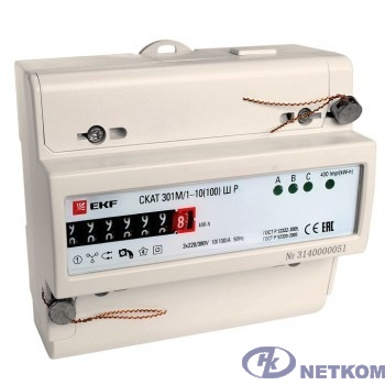 EKF 30104P Счетчик электрической энергии СКАТ 301М/1 - 10(100) Ш Р EKF PROxima