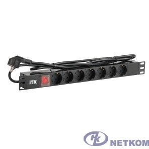 ITK PH12-7D1-P PDU 7 роз. нем.ст. с выкл 1U каб.2м вилка нем.ст ПВХ чер