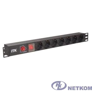 ITK PH12-7D3 PDU 7 розеток нем. ст, с LED выкл, 1U, без шнура, вх. С14
