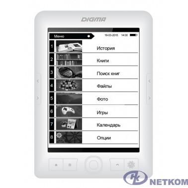 "Электронная книга Digma E63W 6"" E-Ink Carta 800x600 600MHz/4Gb/microSDHC белый [1126111]"