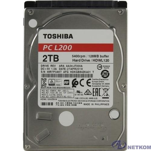 """2TB Toshiba L200 (HDWL120UZSVA) {Serial ATA III, 5400 rpm, 128Mb buffer, 2.5""""}"""