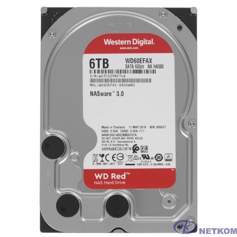 """6TB WD Red (WD60EFAX) {Serial ATA III, 5400- rpm, 256Mb, 3.5""""}"""