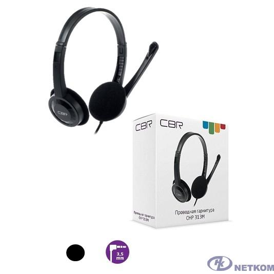CBR CHP 313M, Компьютерная гарнитура проводная, микрофон, накладные наушники, 2 x mini-jack 3.5 mm, регулировка оголовья, длина кабеля 1,5 м, цвет чёрный