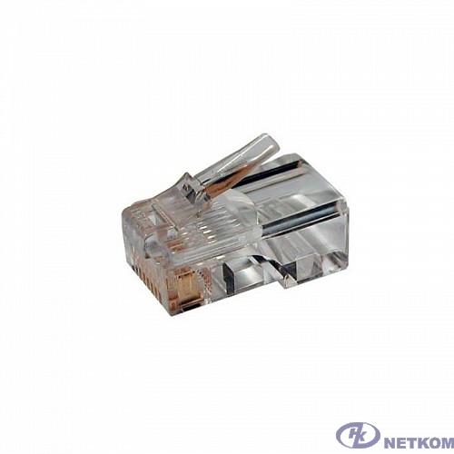 """Hyperline PLEZ-8P8C-U-C5-100 Разъем легкой оконцовки RJ-45 (8P8C) под витую пару, категория 5 (50 µ""""/ 50 микродюймов), универсальный (для одножильного и многожильного кабеля) (100 шт.)"""