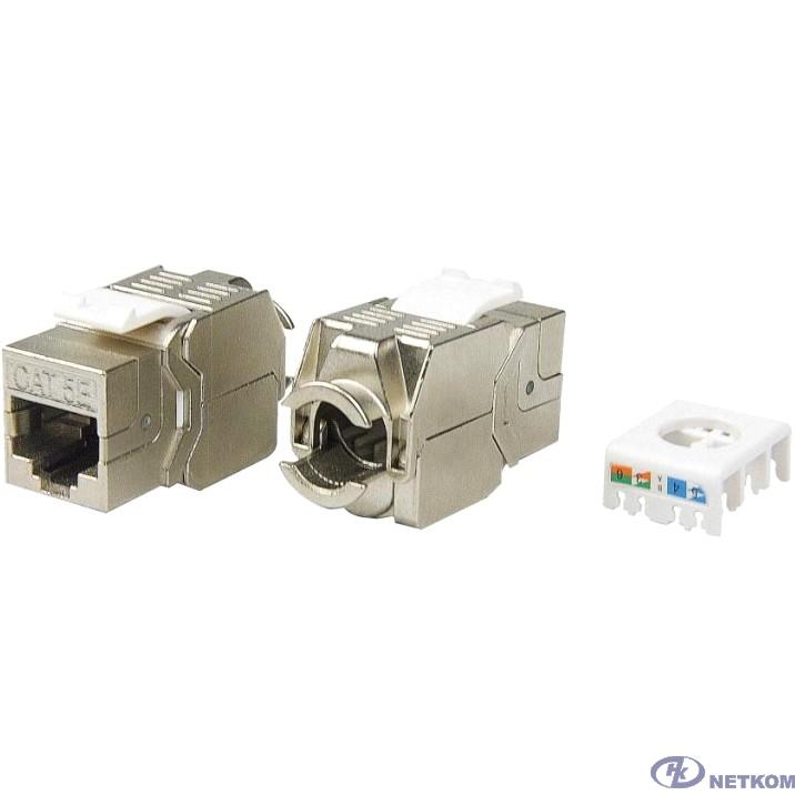Hyperline KJ8-8P8C-C5e-180-TLS-SH-F-WH Вставка Keystone Jack RJ-45(8P8C), категория 5e, экранированная, тип 180 градусов, Toolless, белая