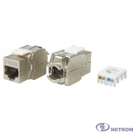 Hyperline KJ8-8P8C-C6-180-TLS-SH-F-WH Вставка Keystone Jack RJ-45(8P8C), категория 6, экранированная, тип 180 градусов, Toolless, белая