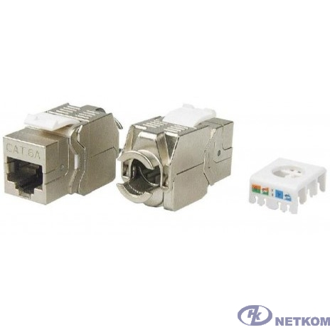 Hyperline KJ8-8P8C-C6A-180-TLS-SH-F-WH Вставка Keystone Jack RJ-45(8P8C), категория 6a (10G), экранированная, тип 180 градусов, Toolless, белая