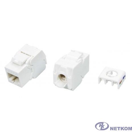 Hyperline KJ8-8P8C-C6A-180-TLS-WH Вставка Keystone Jack RJ-45(8P8C), категория 6a (10G), тип 180 градусов, Toolless, белая