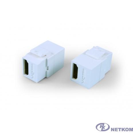 Hyperline KJ1-HDMI-AL18-WH Вставка формата Keystone Jack с проходным адаптером HDMI (Type A), long body (29.7 мм), ROHS, белая