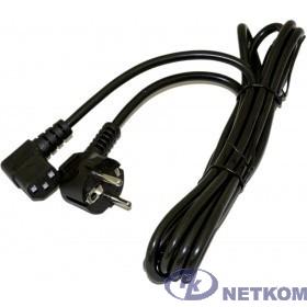 Hyperline PWC-IEC13A-SHM-1.0-BK кабель питания компьютера (Schuko+C13 (угловая)) (3x0.75), 10A, угловая вилка, 1м, цвет черный