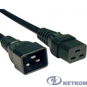 Hyperline PWC-IEC19-IEC20-0.5-BK кабель питания IEC 320 C19 - IEC 320 C20 (3x1.5), 16A, прямая вилка, 0.5м, цвет черный