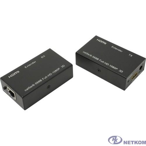ORIENT VE045, HDMI extender (Tx+Rx), активный удлинитель до 60 м по одной витой паре, HDMI 1.4а, 1080p@60Hz/3D, HDCP, подключается кабель UTP Cat5e/6, питание от внешних БП 5В/1А, метал.корпуса(30905)