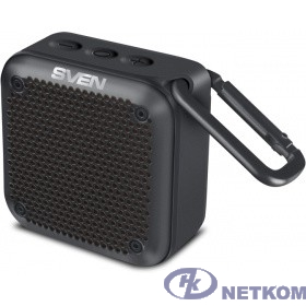 SVEN PS -88, черный  (7  Вт,  Waterproof  (IPx7),  TWS, Bluetooth, microSD, карабин, 1500мА*ч